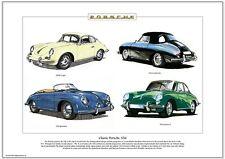 Clásico Porsche 356 Fine Art Print-Cupé Cabrio Speedster Carrera 2 imágenes