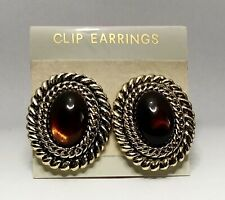 Vintage New Stock Lucite Brown Oval Medallion Clip On Earrings On Gold Tone Rope