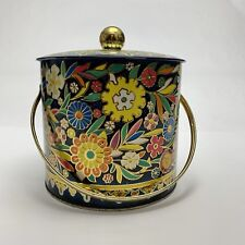 Vintage Daher Floral Tin Canister for Tea Biscuits Cookies Made in England Large