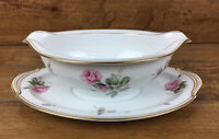 Vintage Noritake Gravy Boat With Attached Plate Rosa Pattern #5460