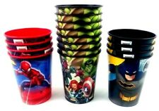 LOT OF 4 BATMAN & 12 MARVEL REUSABLE PLASTIC CUPS BIRTHDAY PARTY SUPPLIES NEW