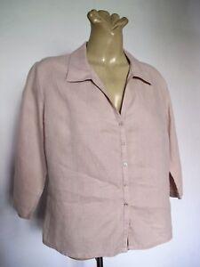 SHIRT Pure LINEN Beige BLOUSE 3/4 sleeve TOP V neck Collar Gordon Smith Basic 12