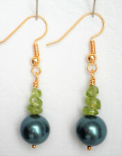 Peridot nugget and shell pearl drop earrings gold plated hooks Approx. 4cm