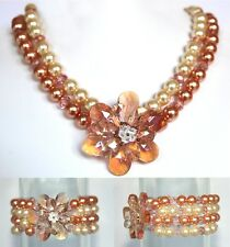 BUTLER & WILSON PEARL & FLOWER  NECKLACE AND BRACELET SET BOXED NEW  CORAL/CREAM