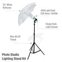 Photo Studio Photography Continuous Lighting One Umbrella Light Lamp Stand Kit