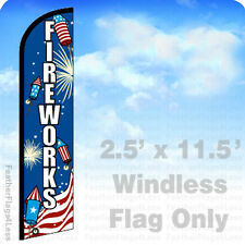 2.5x11.5 Windless Swooper Feather Flag Banner Sign - Fireworks bf