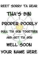 A5 Personalised GET WELL SOON Greeting Card  Propper  Yorkshire