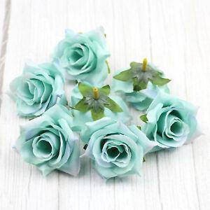 6/120X Green Artificial Fake Rose Flowers Floral Head Wedding Bouquet Home Decor