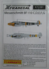 Xtradecal 1/72 X72281 Messerschmitt Bf110C/D/E/F/G decal sheet