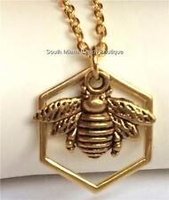 Gold Plated Bumble Bee Necklace Honeycomb 19 inch Insect Queen Bea USA Seller