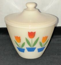 "Vintage* Fire King IVORY w/ TULIPS *6"" GREASE JAR w/ LID*"