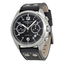 Hamilton Khaki Pilot Pioneer Automatic Chronograph Black Dial Black Leather