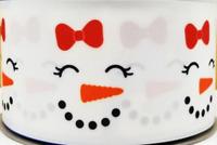 "GROSGRAIN CHRISTMAS SNOWMAN FACES 3"" INCH PRINTED GROSGRAIN RIBBON 1, 3,5 YDS"
