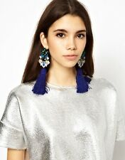 Fashion Charming Silk Yarn Long Tassel Resin Diamante Stud Dangle Earrings