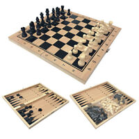 Large Chess Wooden Set Folding Chessboard Magnetic Pieces Wood Board LOT