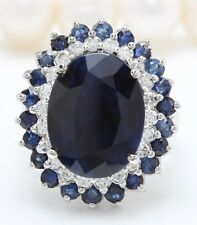 9.45 Carat Natural Sapphire & Diamonds 14K Solid White Gold Women Ring