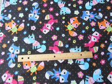 2 Yards Black Dot Girly Multicolored Foxes Flannel Fabric