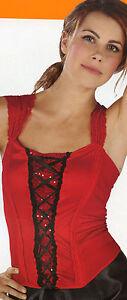 Sexy Corset Victorian Renaissance Valentine Sequin Lace Red Black Adult S/M/L/XL