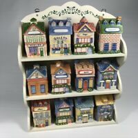 Avon 12 Piece Spice Houses Cottages Jars w/ Spice Rack and Salt & Pepper Shakers