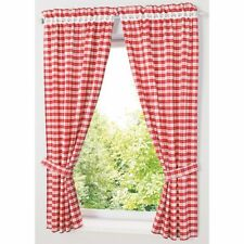 Pastoral Plaid Curtains Short Window Drapes Treatments Woven Home Decoration New