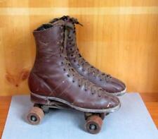 Vintage 1930s Brown Leather Roller Skates Derby Sz.9 Wooden Chicago Wheels No.87