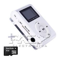 Reproductor MP3 CLIP con Pantalla LCD Color Plata + MicroSD 4 Gb d49/v50