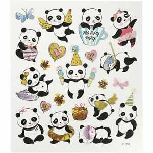 Creativ Happy Panda Animal Stickers Sheet Adhesive Labels Silver Foil Finish