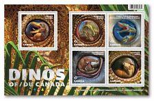 DINOSAURS = DINOS OF CANADA = Souvenir Sheet of 5 Stamps, MNH-VF Canada 2016