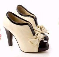 Vintage High Heels Classics beige Pumps Damen Schuhe Absatz Plateauschuhe