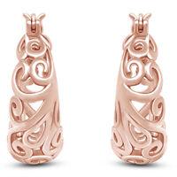 Lovely Design Open Swirls Round Hoop Earrings 14K Rose Gold Over Sterling