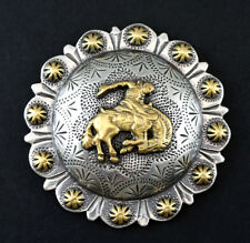 """CONCHOS LOT OF 6 PCS BUCKING BRONCO RIDER BERRY 2 3/8""""  ENGRAVED WESTERN RODEO"""