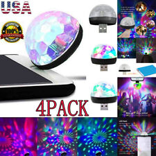 4X Mini USB RGB LED Stage Lamp Remote Controls Disco Ball Lights Home Car Party