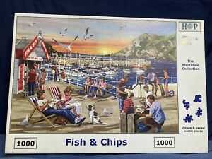 House Of Puzzles Fish and Chips - 1000 Piece Jigsaw Puzzle Complete