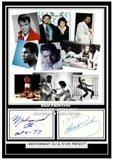 (##57) muhammad ali & elvis presley signed a4 photograph (reprint) great gift ##