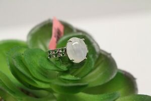 Sri Lankan Rainbow Moonstone, Russian Diopside Size 8 Sterling Silver Ring