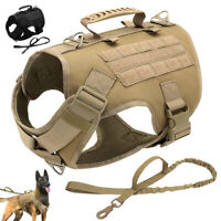 No Pull Tactical K9 Dog Harness and Leash Military Training MOLLE POLICE Vest