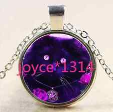 Glass Chain Pendant Necklace #1869 Wiccan black cat Cabochon Tibetan silver