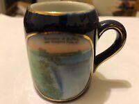 Antique Souvenir of Buffalo and Niagara Falls NY Germany Blue Miniature Cup Blue