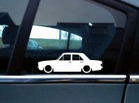 x2 Lowered car silhouette stickers for Ford Cortina Mk2 4-door saloon