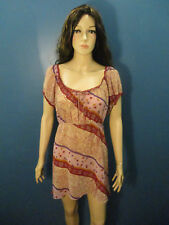size 18 / 20 red and pink semi sheer stretch bust SLEEP GOWN by CINEMA EXOILE