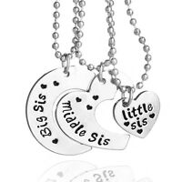 *UK Shop* Silver 3x 'BIG MIDDLE LITTLE SIS' Sister Engraved Moon Heart Necklace