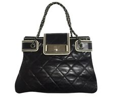 Authentic Chanel Shopping Tote East West Quilted Black Calfskin