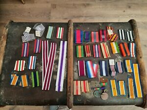 COLLECTION OF MILITARY RIBBONS, DOG TAGS, DFC, DFM ETC