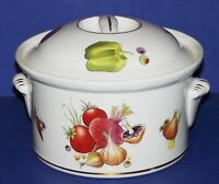 Stunning LE FAUNE LOURIOUX Porcelain Vegetables ROUND COVERED CASSEROLE DISH