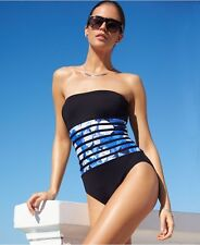 Calvin Klein Banded-Print Strapless Bandeau One-Piece Swimsuit UV Protect Size 8