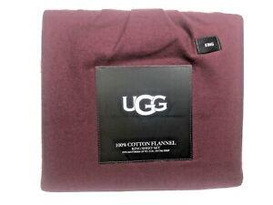 """UGG 100% Cotton Flannel 4 Piece Sheet Set Cabernet King $120 15"""" Deep Pocket"""
