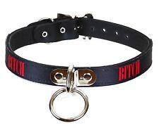 Bitch Leather Bondage ID Collar Fetish Choker Punk Gothic Rock Sexy Name Collar