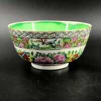 "Vintage Chinese Export Hand Painted Rose Medallion Rice Bowl 4"" Diam Green Exc"