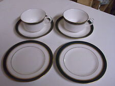LOT OF 2 ROYAL WORCESTER HOWARD GREEN TEA CUPS + SAUCERS + BREAD + BUTTER PLATES