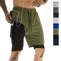Mens 2-in-1 Mesh Workout Shorts Compression Lining Shorts with Pockets Quick-dry